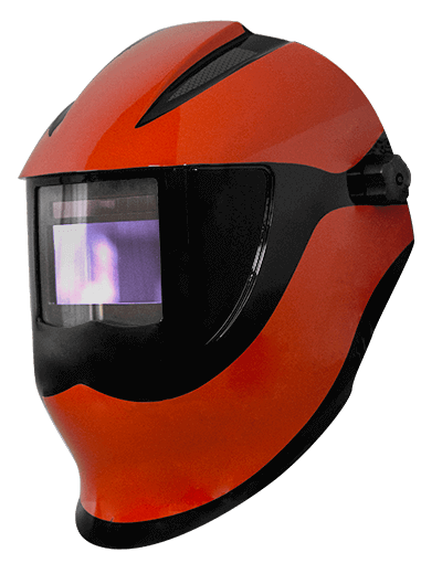 Adjustable face shield with electro-optical filter - Version 4.0 - 5 to 8 and 9 to 13 DIN - 4 sensors - design Red/Black